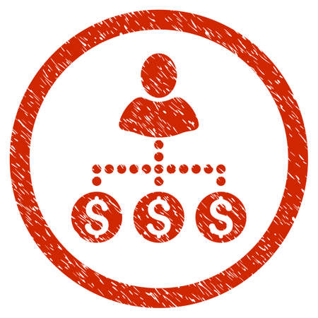 User Payments grainy textured icon inside circle for overlay watermark stamps. Flat symbol with unclean texture. Circled vector red rubber seal stamp with grunge design. Illustration