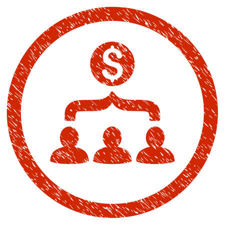 Sales Funnel grainy textured icon inside circle for overlay watermark stamps. Flat symbol with dirty texture. Circled vector red rubber seal stamp with grunge design.