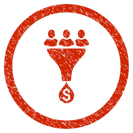 Sales Funnel grainy textured icon inside circle for overlay watermark stamps. Flat symbol with dust texture. Circled vector red rubber seal stamp with grunge design.