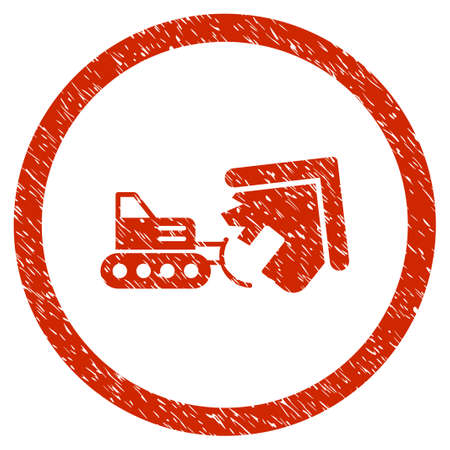 Demolition grainy textured icon inside circle for overlay watermark stamps. Flat symbol with scratched texture. Illustration
