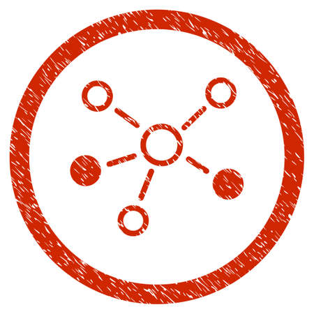 Relations grainy textured icon inside circle for overlay watermark stamps. Flat symbol with scratched texture. Circled dotted vector red ink rubber seal stamp with grunge design on a white background.