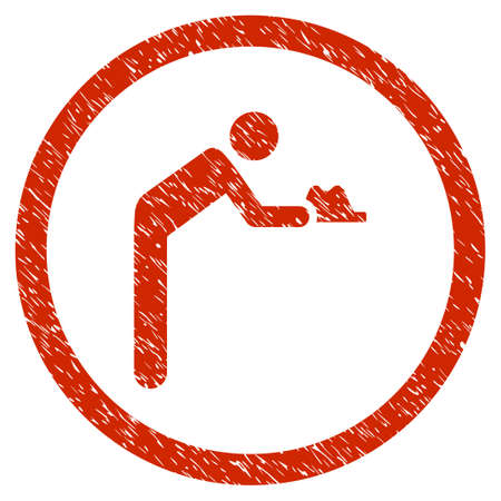 Servant Gentleman grainy textured icon inside circle for overlay watermark stamps. Flat symbol with scratched texture.