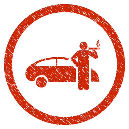 Smoking Taxi Driver grainy textured icon inside circle for overlay watermark stamps. Flat symbol with dirty texture.