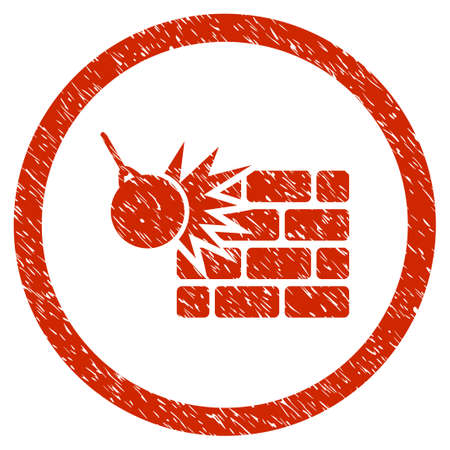 housebreaking: Wall Destruction grainy textured icon inside circle for overlay watermark stamps. Flat symbol with dirty texture.