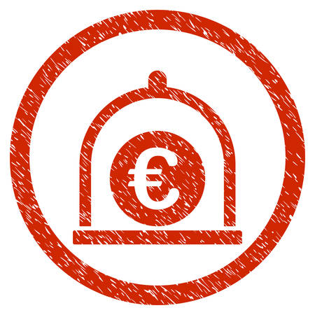 Euro Standard grainy textured icon inside circle for overlay watermark stamps. Flat symbol with unclean texture.