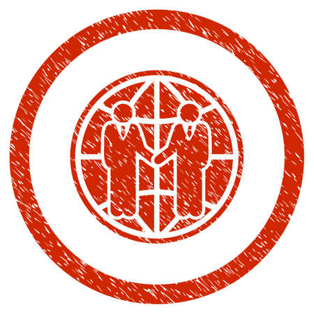 Global Partnership grainy textured icon inside circle for overlay watermark stamps. Flat symbol with scratched texture. Illustration