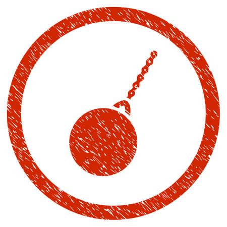 Destruction Hammer grainy textured icon inside circle for overlay watermark stamps. Flat symbol with unclean texture.
