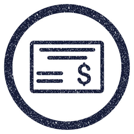 Dollar Cheque grainy textured icon inside circle for overlay watermark stamps. Flat symbol with unclean texture. Circled vector indigo blue rubber seal stamp with grunge design.