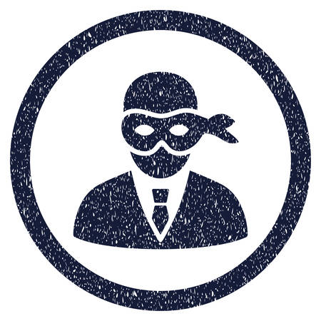 Masked Thief grainy textured icon inside circle for overlay watermark stamps. Flat symbol with dirty texture. Circled vector indigo blue rubber seal stamp with grunge design.