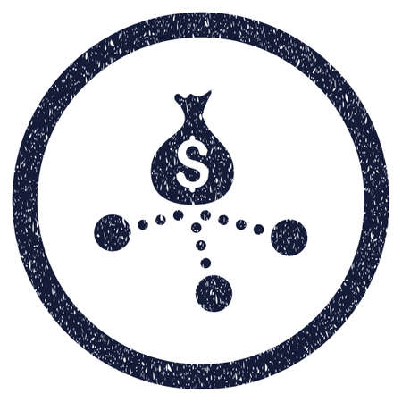 Money Distribution grainy textured icon inside circle for overlay watermark stamps. Flat symbol with scratched texture. Circled vector indigo blue rubber seal stamp with grunge design.