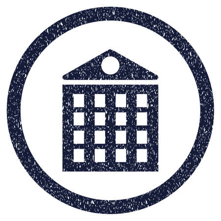multistorey: Multi-Storey House grainy textured icon inside circle for overlay watermark stamps. Flat symbol with dirty texture. Circled vector indigo blue rubber seal stamp with grunge design. Illustration