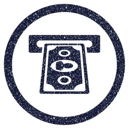 withdraw: Payment Terminal grainy textured icon inside circle for overlay watermark stamps. Flat symbol with dust texture. Circled vector indigo blue rubber seal stamp with grunge design.
