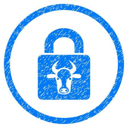 Bull Lock grainy textured icon inside circle for overlay watermark stamps. Flat symbol with dust texture. Circled raster blue rubber seal stamp with grunge design.