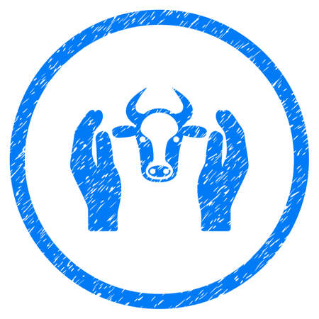 cattle guard: Cow Head Care Hands grainy textured icon inside circle for overlay watermark stamps. Flat symbol with dust texture. Circled raster blue rubber seal stamp with grunge design.