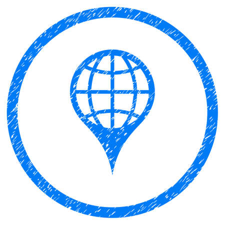 Global Location grainy textured icon inside circle for overlay watermark stamps. Flat symbol with dirty texture. Circled raster blue rubber seal stamp with grunge design.