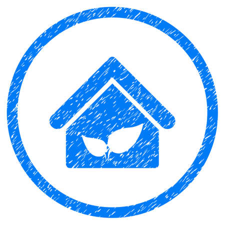 Greenhouse grainy textured icon inside circle for overlay watermark stamps. Flat symbol with dirty texture. Circled raster blue rubber seal stamp with grunge design.