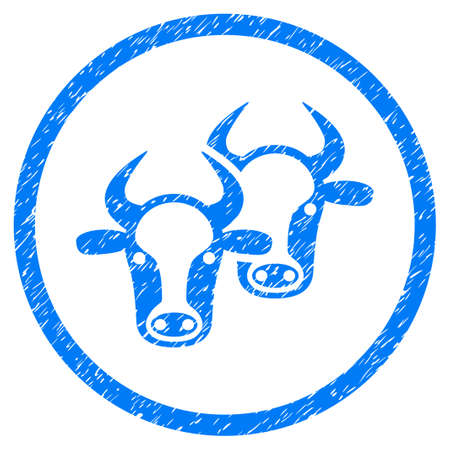 Livestock grainy textured icon inside circle for overlay watermark stamps. Flat symbol with unclean texture. Circled raster blue rubber seal stamp with grunge design.