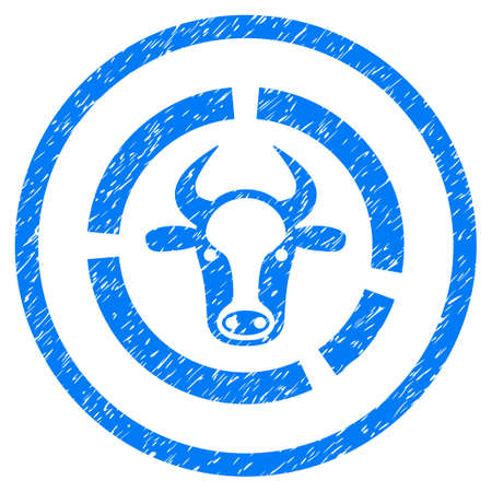 Cow Diagram grainy textured icon inside circle for overlay watermark stamps. Flat symbol with unclean texture. Circled raster blue rubber seal stamp with grunge design.
