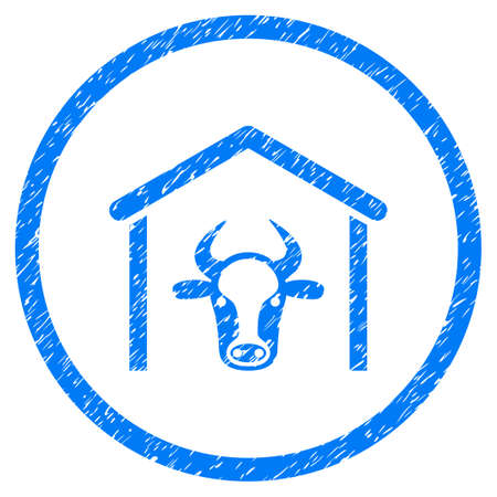 Cow Garage grainy textured icon inside circle for overlay watermark stamps. Flat symbol with dust texture. Circled raster blue rubber seal stamp with grunge design. Stock Photo