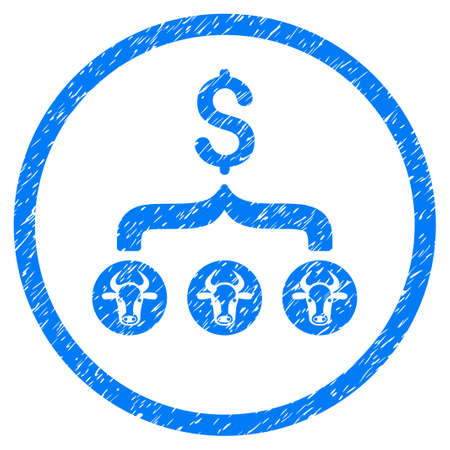Cows Result Dollar grainy textured icon inside circle for overlay watermark stamps. Flat symbol with dirty texture. Circled raster blue rubber seal stamp with grunge design.