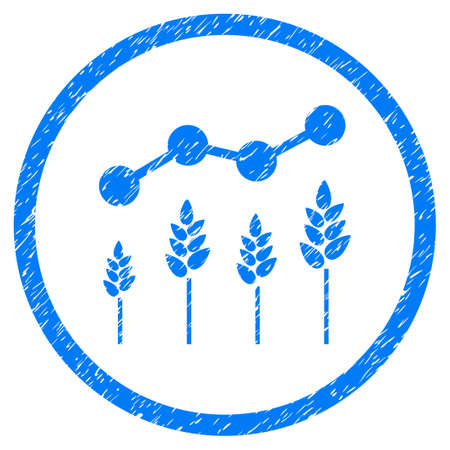 analyze: Crop Analytics grainy textured icon inside circle for overlay watermark stamps. Flat symbol with scratched texture. Circled raster blue rubber seal stamp with grunge design.