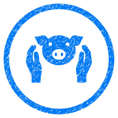 Pig Care Hands grainy textured icon inside circle for overlay watermark stamps. Flat symbol with dirty texture. Circled raster blue rubber seal stamp with grunge design.