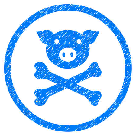 Pig Death grainy textured icon inside circle for overlay watermark stamps. Flat symbol with unclean texture. Circled raster blue rubber seal stamp with grunge design.