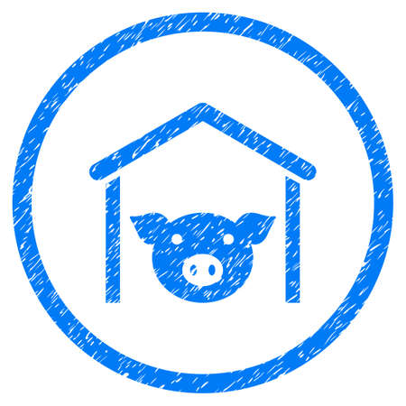 Pig Farm grainy textured icon inside circle for overlay watermark stamps. Flat symbol with dust texture. Circled raster blue rubber seal stamp with grunge design. Stock Photo