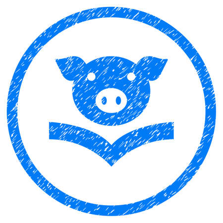 Pig Knowledge grainy textured icon inside circle for overlay watermark stamps. Flat symbol with dirty texture. Circled raster blue rubber seal stamp with grunge design.
