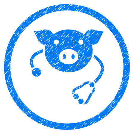 Pig Veterinary grainy textured icon inside circle for overlay watermark stamps. Flat symbol with dust texture. Circled raster blue rubber seal stamp with grunge design.