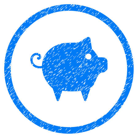 Piggy grainy textured icon inside circle for overlay watermark stamps. Flat symbol with dust texture. Circled raster blue rubber seal stamp with grunge design. Stock Photo