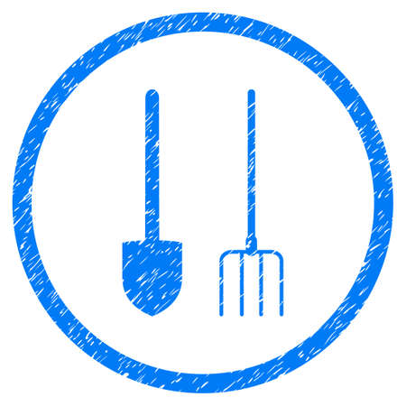 Pitchfork And Shovel Tools grainy textured icon inside circle for overlay watermark stamps. Flat symbol with dirty texture. Circled raster blue rubber seal stamp with grunge design.