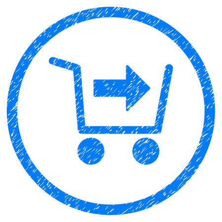 give out: Purchase Cart grainy textured icon inside circle for overlay watermark stamps. Flat symbol with scratched texture. Circled raster blue rubber seal stamp with grunge design.