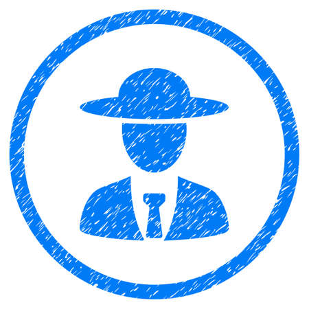Agronomist Chief grainy textured icon inside circle for overlay watermark stamps. Flat symbol with dust texture. Circled vector blue rubber seal stamp with grunge design.