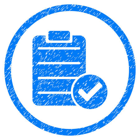 right choice: Approve List grainy textured icon inside circle for overlay watermark stamps. Flat symbol with scratched texture. Circled vector blue rubber seal stamp with grunge design.