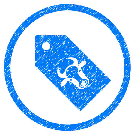 Bull Tag grainy textured icon inside circle for overlay watermark stamps. Flat symbol with dust texture. Circled vector blue rubber seal stamp with grunge design.