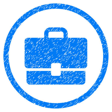 vacancy: Case grainy textured icon inside circle for overlay watermark stamps. Flat symbol with dirty texture. Circled vector blue rubber seal stamp with grunge design. Illustration