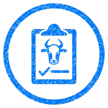 convention: Cattle Contract grainy textured icon inside circle for overlay watermark stamps. Flat symbol with dirty texture. Circled vector blue rubber seal stamp with grunge design.