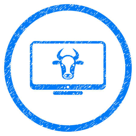 Cattle Monitor grainy textured icon inside circle for overlay watermark stamps. Flat symbol with dust texture. Circled vector blue rubber seal stamp with grunge design.