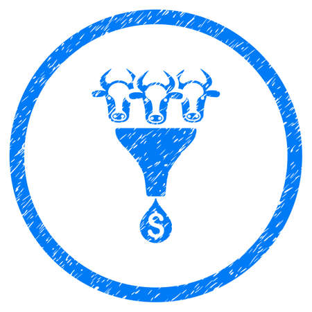 Cattle Profit Funnel grainy textured icon inside circle for overlay watermark stamps. Flat symbol with scratched texture. Circled vector blue rubber seal stamp with grunge design.