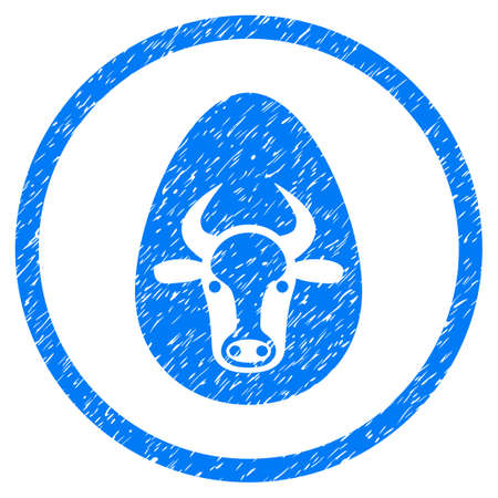 reproduction animal: Cow Egg grainy textured icon inside circle for overlay watermark stamps. Flat symbol with unclean texture. Circled vector blue rubber seal stamp with grunge design.
