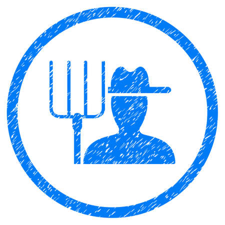 Farmer With Pitchfork grainy textured icon inside circle for overlay watermark stamps. Flat symbol with dirty texture. Circled vector blue rubber seal stamp with grunge design. Illustration