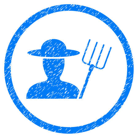 Farmer With Pitchfork grainy textured icon inside circle for overlay watermark stamps. Flat symbol with dust texture. Circled vector blue rubber seal stamp with grunge design.