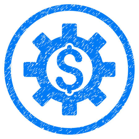 Financial Development grainy textured icon inside circle for overlay watermark stamps. Flat symbol with scratched texture. Circled vector blue rubber seal stamp with grunge design.