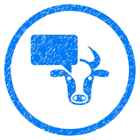 Cow Opinion grainy textured icon inside circle for overlay watermark stamps. Flat symbol with dirty texture. Circled vector blue rubber seal stamp with grunge design. Illustration