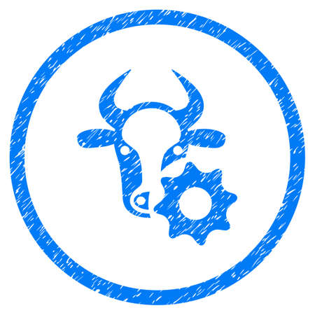 Cow Options Gear grainy textured icon inside circle for overlay watermark stamps. Flat symbol with dirty texture. Circled vector blue rubber seal stamp with grunge design. Illustration