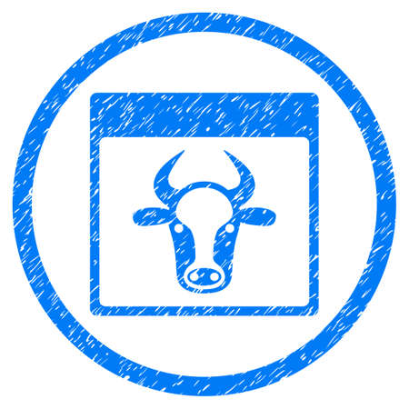 dirty sheet: Cow Page grainy textured icon inside circle for overlay watermark stamps. Flat symbol with dust texture. Circled vector blue rubber seal stamp with grunge design.