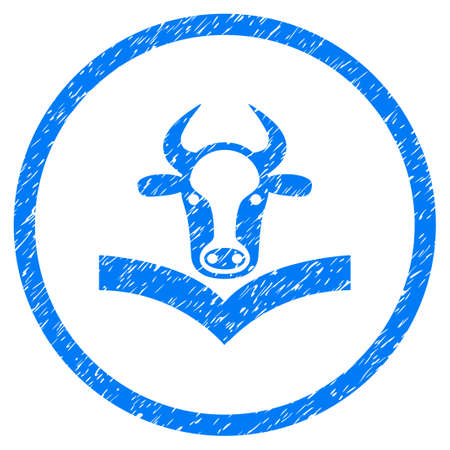 Cow Handbook grainy textured icon inside circle for overlay watermark stamps