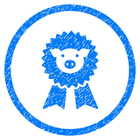 Pig Award Seal grainy textured icon inside circle for overlay watermark stamps. Flat symbol with dirty texture. Circled vector blue rubber seal stamp with grunge design.