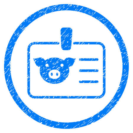 Pig Badge grainy textured icon inside circle for overlay watermark stamps. Flat symbol with scratched texture. Circled vector blue rubber seal stamp with grunge design.